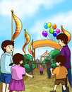 Kids and families go to a fun fair Royalty Free Stock Photo