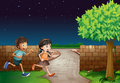 Kids and a fence illustration of in dark night Stock Photo