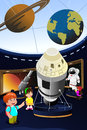 Kids on a field trip to a planetarium vector illustration of happy Royalty Free Stock Images