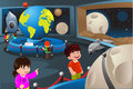 Kids on a field trip to a planetarium vector illustration of happy Royalty Free Stock Photo