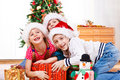 Kids fighting for presents Stock Photo