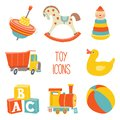 Kids First Toys icon set. Baby shower design element. Cartoon vector hand drawn eps 10 illustration isolated on white