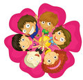 Kids on a flower Royalty Free Stock Images