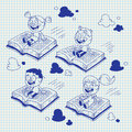 Kids flying on books Royalty Free Stock Images