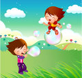 Kids flying on bubbles Stock Photos