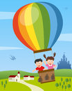 Kids Flying on Hot Air Balloon Royalty Free Stock Images