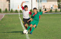 Kids football match little boy play defense on Royalty Free Stock Photography