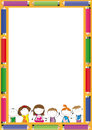 Kids frame with colorful crayons and happy Stock Photo