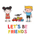 Kids friendship start of cute vector illustration isolated Royalty Free Stock Photos