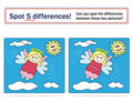 Kids game: spot 5 differences! Royalty Free Stock Photo