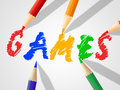 Kids games indicates child childhood and drawing meaning play time gaming Royalty Free Stock Image