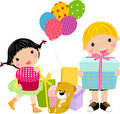 Kids and gift box Stock Images