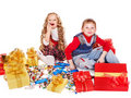 Kids with  gift box and sweet. Royalty Free Stock Photo