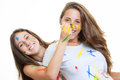 Kids girls with paint Stock Images