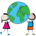 Kids with globe Royalty Free Stock Photo