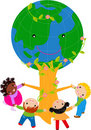Kids and globe tree Stock Photography