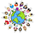 Kids with globe on white background Royalty Free Stock Photo