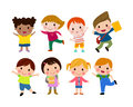 Kids go to school, back to school, Cute cartoon children, happy children Royalty Free Stock Photo