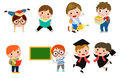 Kids go to school, back to school, Cute cartoon children, happy children, Vector Illustration. Royalty Free Stock Photo