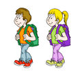 Kids going to school a boy and girl on the way illustration Royalty Free Stock Image