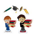 Kids going to school two boys carrying some books back Royalty Free Stock Photography