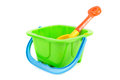 Kids green bucket and spade Stock Photography