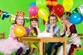 Kids group and  birthday cake Royalty Free Stock Photo