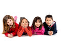 Kids group of children posing isolated in white Royalty Free Stock Photos