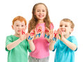 Kids happy birthday painted letters on hands Royalty Free Stock Photography