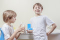 stock image of  Kids have fun while doing science experiments. Education concept.