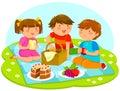 Kids having picnic