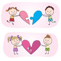 Kids with heart puzzle illustration of chalky drawing Royalty Free Stock Images