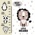 Kids height chart. Cute and funny doodle animals.Growth chart in scandinavian style