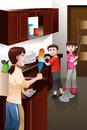 Kids helping their parent cleaning house a vector illustration of happy mother Stock Image
