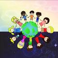 Kids holdding hand around world graphic vector eps Stock Photography