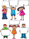 Kids holding blank boards placard Stock Images