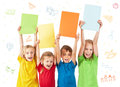 Kids holding colorful sheets with letters isolated on white Stock Image