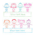 Kids holding hands illustration of colored chalk drawing Stock Photography