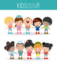 Kids holding hands on white background , Multi-ethnic children holding hands, Many happy children holding hands , Vector Illustrat Royalty Free Stock Photo