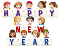 Kids holding happy new year cards