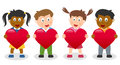 Kids Holding a Red Heart