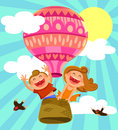 Kids in hot air baoon two happy flying a balloon Stock Image