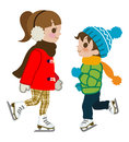 Kids ice skating isolated illustration of who Stock Photo