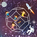 Kids imagination space galaxy astrounout rocket beautiful sky flying stars