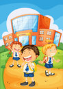 Kids infront of school illustration a Stock Images