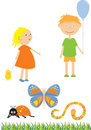 Kids and insects Royalty Free Stock Photo