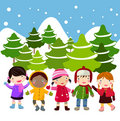 Kids join snow Royalty Free Stock Photos
