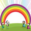 Kids jumping playing and rainbow with copy space Stock Photography