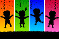 Kids Jumping Silhouettes Royalty Free Stock Photo