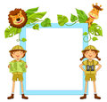 Kids in the jungle frame with ready to explore Royalty Free Stock Image